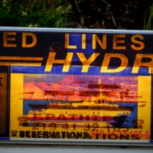 Old Hydra Boat sign at the Port of Piraeus