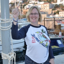 Ann with her fabulous 'Book of Longing' T-shirt from Gery