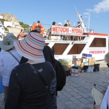 Boarding the boat for our day trip to the ruins of Southern Greece