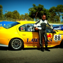 Alan Hill with his BF Falcon ex V8 Supercar.
