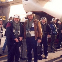 Ready to fly out, me on the left and good friend Maurice Brockwell, sadly now passed away.